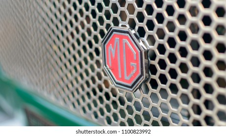 Clevedon, England - May 28, 2018: MG Cars Logo, Shallow depth of field