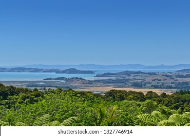 Clevedon Scenic Reserve. View from the top of the hill. Islands.