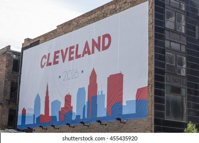 Cleveland billbord on building / Cleveland Billboard on Building at Republican National Convention / Cleveland OH, USA - July 18, 2016: