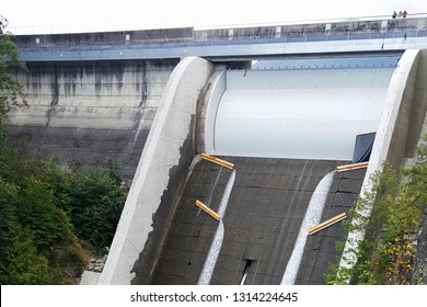 Cleveland Dam spillway in North Vancouver, Canada on Capilano river