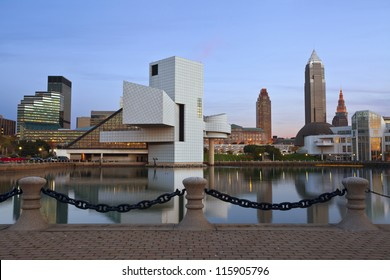 Cleveland. Image of Cleveland harbor district at twilight.