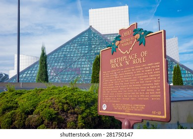 CLEVELAND - OCT 11:  The Rock and Roll Hall of Fame on lightly cloudy day.  The pyramid structur was designed by architct I.M. Pei, who also designed Musee Louvre.