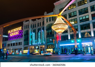 CLEVELAND, OH - JANUARY 1, 2016: One of Cleveland's splashiest new landmarks is the giant chandelier suspended above Euclid Avenue in the center of the theater district, Playhouse Square.