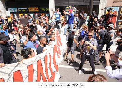Cleveland, OH July 19, 2016: Republican National Convention - Protesters march down Prospect ave on their way to the entrance of the security perimeter of Quicken Loans Arena