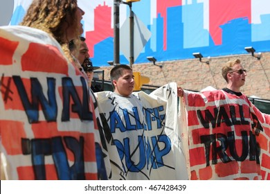 Cleveland, OH July 19, 2016: Republican National Convention - The wall that Trump built, demonstrators show their frustration with the Republican nominee's stance on immigration