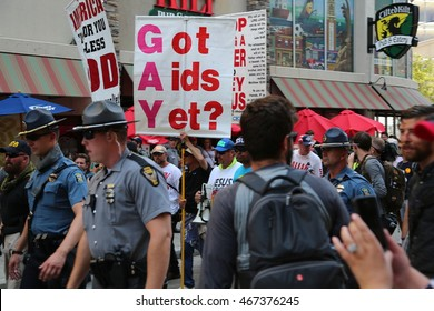 Cleveland, OH July 20, 2016: Republican National Convention - Anti Gay Rights activists make their way through Cleveland