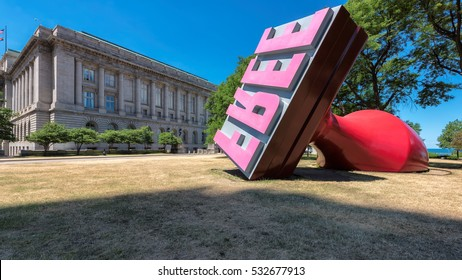 CLEVELAND, OH - JUNE 30, 2016: The Free Stamp sculpture on June 30, 2916, Cleveland, OH. Sculpture, created by Claes Oldenburg and Coosje van Bruggen, has been the focus of Willard Park