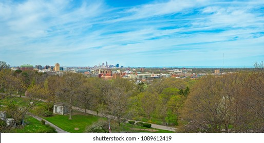 CLEVELAND, OH - MAY 5, 2018: Panoramic view of Cleveland Ohio from the Garfield Memorial shows Lake Erie, downtown, and the University Circle cultural and hospital district.
