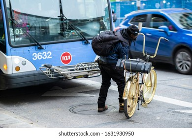 Cleveland, OH - Nov 15,2019: Bicycles are Welcome on RTA's buses