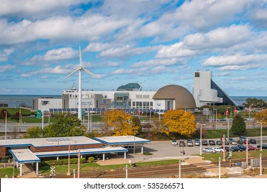 CLEVELAND, OH - NOVEMBER 4: Downtown Cleveland skyline and Great Lakes Science Center in Ohio USA on November 4, 2016
