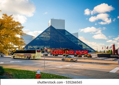 CLEVELAND, OH - NOVEMBER 4: The Rock and Roll Hall of Fame and Museum in Downtown Cleveland Ohio USA on November 4, 2016