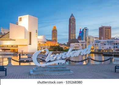 CLEVELAND, OH - OCTOBER 31: Downtown Cleveland skyline from the lakefront in Ohio USA on October 31, 2016