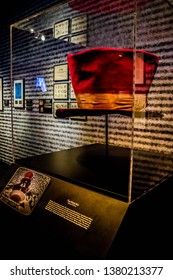 Cleveland, OH, USA - July 14, 2018: A Tom Petty Hat collection inside the exhibit
