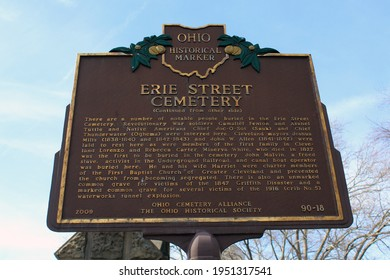 Cleveland OH: USA: March 30, 2021 – Ohio Historical Marker (side 2) sign at Erie Street Cemetery Burial site of Native American Indian chiefs, politicians, freed slaves, Revolutionary War soldiers.