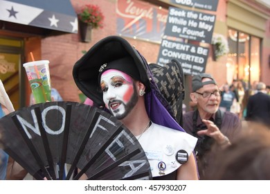 CLEVELAND - OHIO - JULY 20 2016: Thousands of delegates, activists, spectators & law enforcement from all over the US descended onto Cleveland for the RNC. Sisters of Perpetual Indulgence