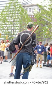 CLEVELAND - OHIO - JULY 21 2016: Thousands of delegates, activists, spectators & law enforcement from all over the US descended to Cleveland for the Republican National Convention. Open weapons carry