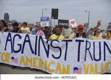CLEVELAND - OHIO - JULY 21 2016: Thousands of delegates, activists, spectators & law enforcement from all over the US descended onto Cleveland for the RNC. Anti Trump march over Hope Memorial Bridge