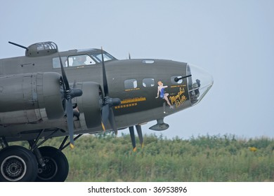 CLEVELAND, OHIO - JUNE 6: A B-17 Bomber aircraft takes off at the Cleveland National Airshow on Sept. 6, 2009 in Cleveland, Ohio.