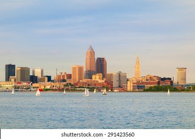 Cleveland, Ohio, near sunset, viewed from out on Lake Erie