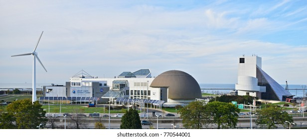 CLEVELAND, OHIO - OCTOBER 16, 2017 - The Great Lakes Science Center is a museum and educational facility in downtown Cleveland, Ohio, United States