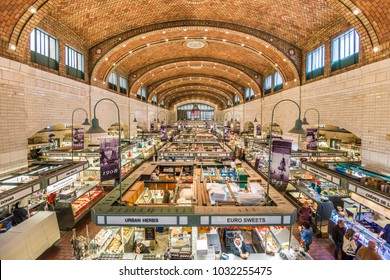 CLEVELAND, OHIO - OCTOBER 30, 2017: The West Side Market interior. It is considered the oldest operating market space in Cleveland.