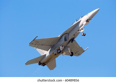 CLEVELAND, OHIO - SEPT 5: An FA-18 Hornet flys by at the Cleveland National Airshow SEPTEMBER 5, 2010 at the Burke International Airport in Cleveland, Ohio.