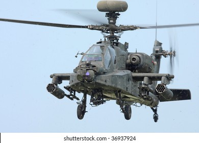 CLEVELAND, OHIO - SEPT. 6: Looking at the front of a hovering Apache Longbow helicopter at the Cleveland National Airshow on Sept. 6, 2009 in Cleveland, Ohio.