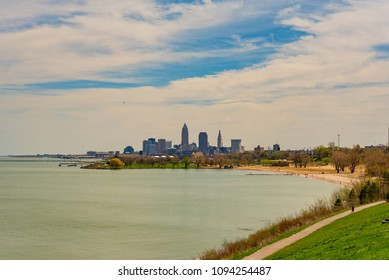 Cleveland Ohio skyline from Edgewater Park on Lake Erie, with Edgewater beach at right