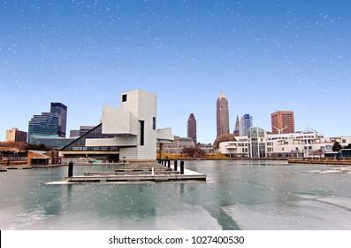 Cleveland Ohio Skyline on Lake Erie