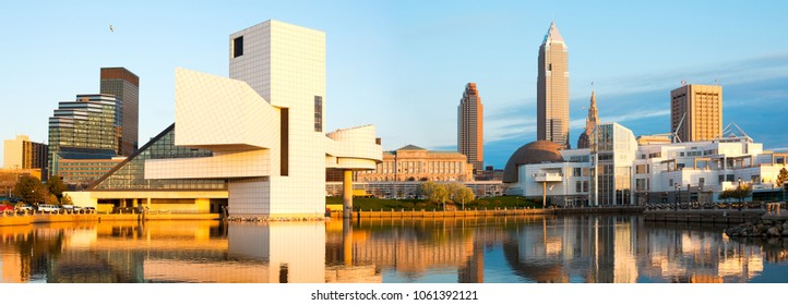 Cleveland, Ohio, United States - April 29, 2011: Skyline from the harbor at sunset.