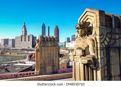 Cleveland, Ohio, United States - April 2 2021: Aerial Drone Photography of the Guardians of Transportation on Hope Memorial Bridge