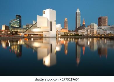 Cleveland, Ohio, United States - City skyline at dusk from the harbor,