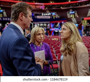Cleveland, Ohio, USA, 17th July, 2016 Paul Manafort  Donald Trump's campaign manager talks with NBC's Andrea Mitchell and Deborah Turness in the Quicken Arena the day before the RNC begins