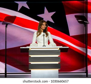 Cleveland Ohio, USA, 18th July, 2016Future First Lady Melania Trump addressses the Republican National Nominating Convention from the podium in the Quicken Sports Arena