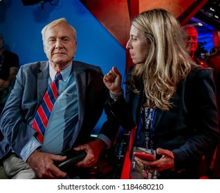 """Cleveland, Ohio, USA, 18th July, 2016 Chris Matthews the host of MSNBC's """"Hardball """" talk show gets some last minute direction from Deborah Turness the President of NBC news at Republican convention"""