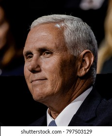 Cleveland Ohio, USA, 18th July, 2016 Republican Governor and now VIce-Presidential candidate Michael Pence sits with the Trump family during the Republican National Convention in the Quicken Arena.