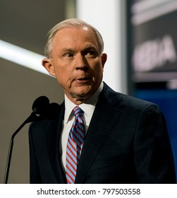 Cleveland Ohio, USA, 18th July, 2016Republican Senator from Alabama Jeff Sessions addresses the National Nominating Convention from the podium in the Quicken Loans Sports Arena