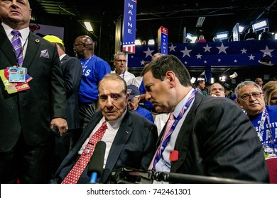Cleveland, Ohio, USA, 19th July, 2016 Former Kansas Senator Robert Dole is interviewed by Mark Halperin of Bloomberg television while at the Quicken Arena during the Republican National convention