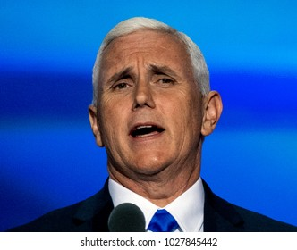 """Cleveland Ohio, USA, 20th July, 2016. Republican Governor and now VIce-Presidential candidate Michael """"Mike"""" Pence addresses the Republican National Convention in the Quicken Arena."""
