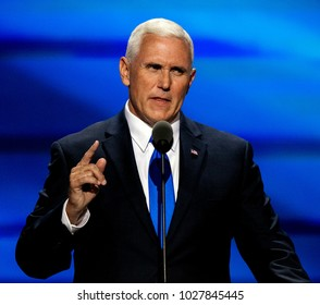 "Cleveland Ohio, USA, 20th July, 2016. Republican Governor and now VIce-Presidential candidate Michael ""Mike"" Pence addresses the Republican National Convention in the Quicken Arena."