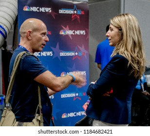 Cleveland, Ohio, USA, 20th July, 2016 Steve Hilton former director of strategy for PM David Cameron talks with NBC news division president Deborah Turness backstage at the Republican Convention