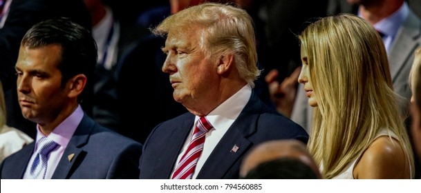 Cleveland, Ohio, USA, 20th July, 2016Donald Trump Jr., Donald Trump and Ivanka Trump stand together during the Republican National Convention in the Quicken Arena.