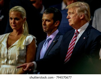 Cleveland, Ohio, USA, 20th July, 2016Vanessa Trump her husband Donald Trump Jr. Presidentil candidate Donald Trump stand together during the Republican National Convention in the Quicken Arena.