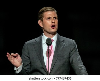 Cleveland Ohio, USA, 20th July, 2016 Eric Trump, son of presidential candidate Donald Trump delivering speech during the Republican National Convention in the Quicken  Arena.