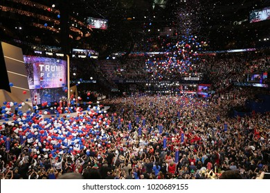 Cleveland, Ohio, USA, 21st July, 2016Balloon drop at the end of the Republican National Convention in the Quicken Loans Sports Arena