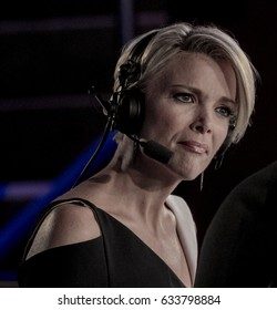 Cleveland, Ohio, USA, 21st July, 2016 FOX News correspondent Megyn Kelly reporting on the Republican National Convention from the FOX Network broadcast booth in the Quicken arena