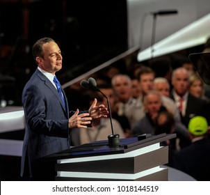 Cleveland, Ohio, USA, 21th July, 2016 Reince Preibus Chairman of the Republican National Party addresses the National Convention on the final day from the podium of the Quicken Loans Arena