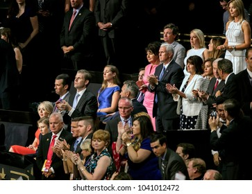 Cleveland Ohio, USA, 21th July, 2016 Upper row (L-R) is Melania Trump's mother Amalija Knaus (in rose colored dress) standing next to VIce Presidential candidiate Mike Pence and his wife Karen Pence,