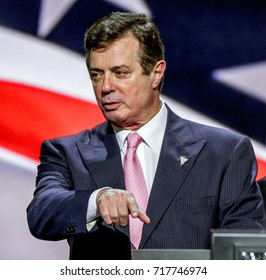 Cleveland Ohio, USA, 21th July, 2016 Paul Manafort Donald Trump's campaign manager during the sound check at the podium of the Republican National Convention