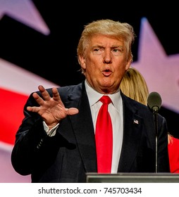 Cleveland Ohio, USA, 21th July , 2016Donald Trump on stage during the sound checks in Quicken Arena for the Republican National Convention
